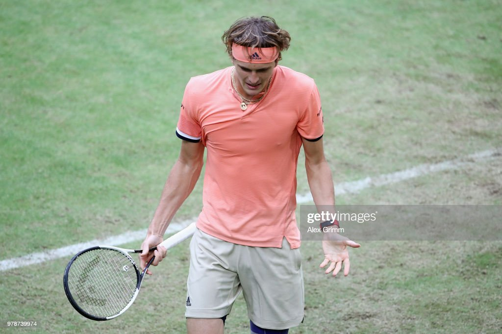 Alexander Zverev of Germany reacts during his first round match against Borna Coric of Croatia during day 2 of the Gerry Weber Open at Gerry Weber Stadium on June 19, 2018 in Halle, Germany.