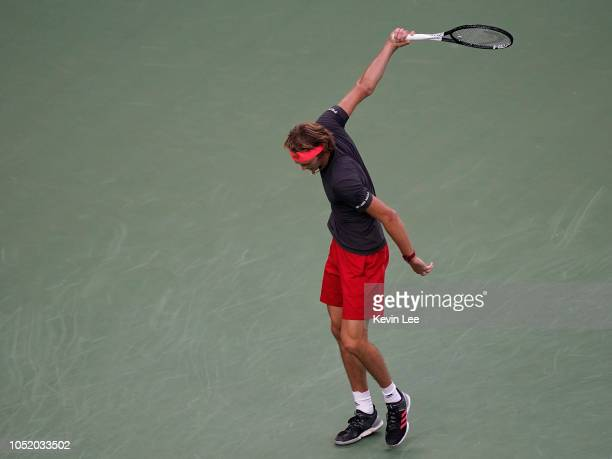 Alexander Zverev of Germany reacts during his match against Novak Djokovic of Serbia in semifinal of men's singles match of the 2018 Rolex Shanghai...