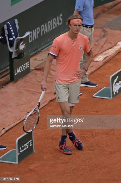 Alexander Zverev of Germany reacts during his men's singles quaterfinal match against Dominic Thiem of Austria on day 9 of the 2018 French Open at...