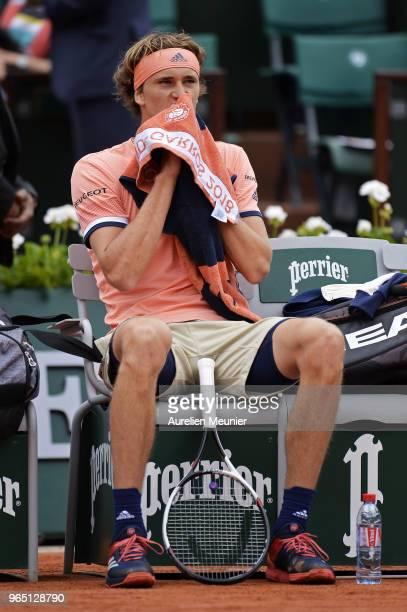 Alexander Zverev of Germany reacts during his mens singles third round match against Damir Dzumhur of BosniaHezergovinia during day 6 of the 2018...