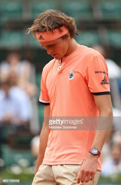 Alexander Zverev of Germany reacts during his mens singles third round match against Damir Dzumhur of Bosnia and Herzegovinia during day six of the...