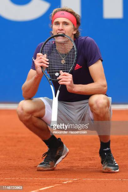 Alexander Zverev of Germany reacts during his quater final match against Cristian Garin of Chile on day 7 of the BMW Open at MTTC IPHITOS on May 03...