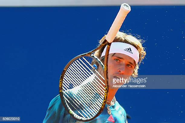 Alexander Zverev of Germany reacts during his quater final match against David Goffin of Belgium of the BMW Open at Iphitos tennis club on April 29...