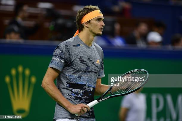 Alexander Zverev of Germany reacts during the Men's Singles final match against Daniil Medvedev of Russia on day nine of 2019 Shanghai Rolex Masters...