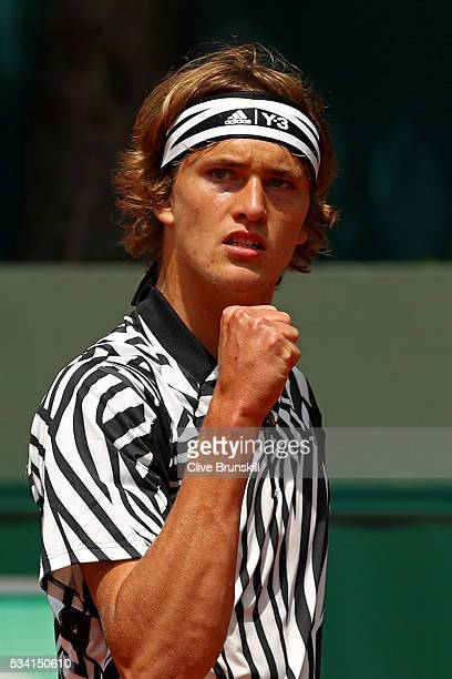 Alexander Zverev of Germany reacts during the Men's Singles first round match against PierreHughers Herbert of France on day four of the 2016 French...