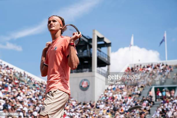 Alexander Zverev of Germany reacts during the mens singles fourth round match against Karen Khachanov of Russia during day eight of the 2018 French...