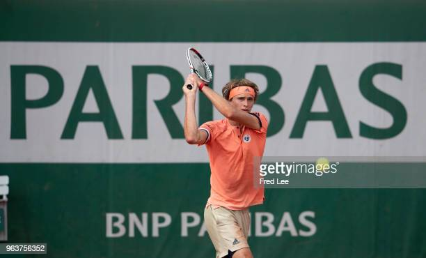 Alexander Zverev of Germany reacts during the mens singles second round match against Dusan Lajovic of Serbia during day four of the 2018 French Open...