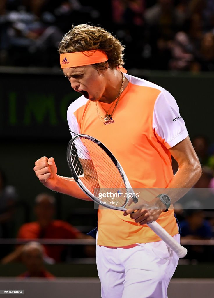 Alexander Zverev of Germany reacts during the quarterfinals match against Nick Kyrgios of Australia on Day 11 of the Miami Open at Crandon Park Tennis Center on March 30, 2017 in Key Biscayne, Florida.