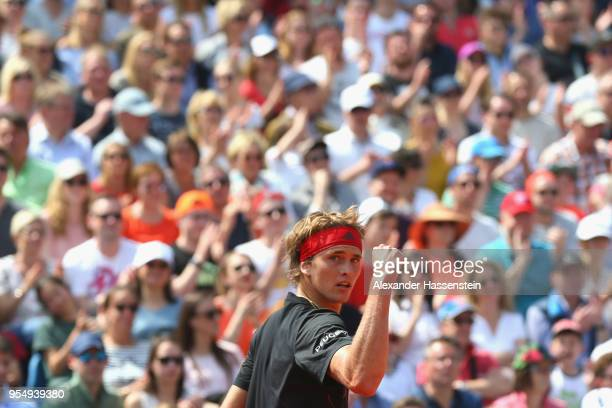 Alexander Zverev of Germany reacts during the semifinal match against Hyeon Chung of Korea on day 8 of the BMW Open by FWU at MTTC IPHITOS on May 5...