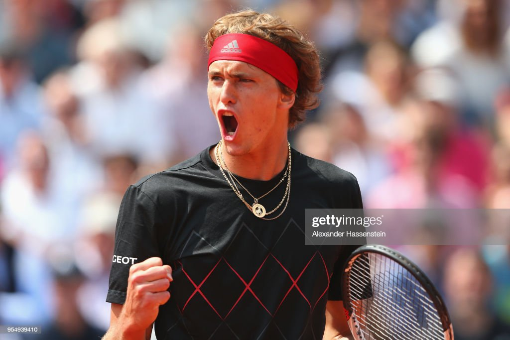 Alexander Zverev of Germany reacts during the semifinal match against Hyeon Chung of Korea on day 8 of the BMW Open by FWU at MTTC IPHITOS on May 5, 2018 in Munich, Germany.