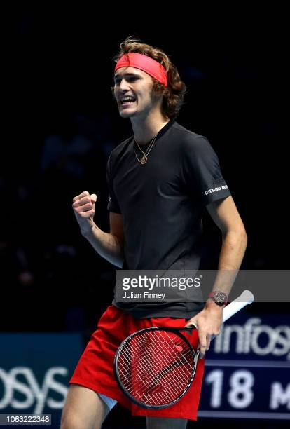 Alexander Zverev of Germany reacts during the singles final against Novak Djokovic of Serbia during Day Eight of the Nitto ATP Finals at The O2 Arena...