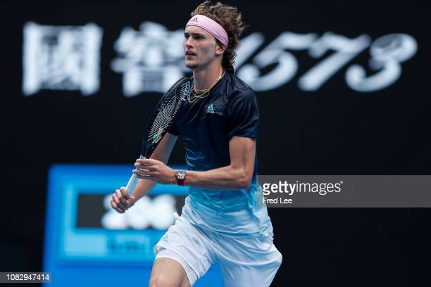 Alexander Zverev of Germany reacts in his first round match against Aljaz Bedene of Slovenia during day two of the 2019 Australian Open at Melbourne...
