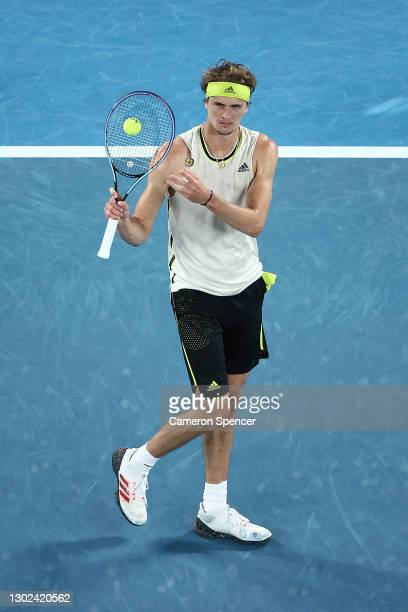 Alexander Zverev of Germany reacts in his Men's Singles Quarterfinals match against Novak Djokovic of Serbia during day nine of the 2021 Australian...