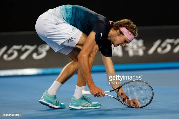 Alexander Zverev of Germany reacts in his second round match against Jeremy Chardy of France during day four of the 2019 Australian Open at Melbourne...