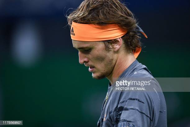 Alexander Zverev of Germany reacts while playing against Daniil Medvedev of Russia during their men's single final match at the Shanghai Masters...