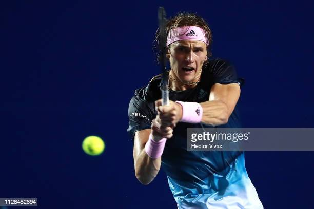 Alexander Zverev of Germany returns a ball during the final match between Nick Kyrgios of Australia and Alexander Zverev of Germany as part of the...