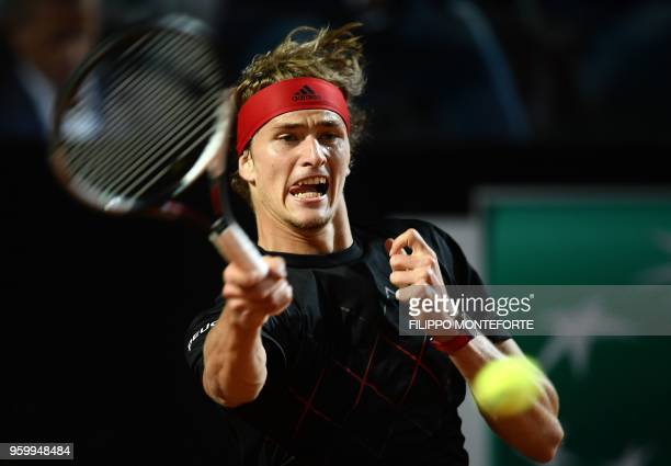 Alexander Zverev of Germany returns a ball to David Goffin of Belgium during the ATP Tennis Open tournament in Rome at the Foro Italico on May 18 2018