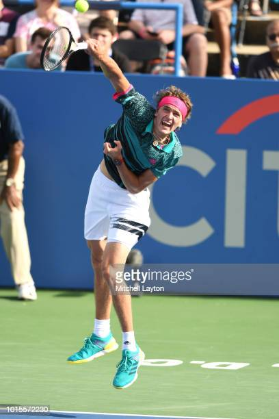 Alexander Zverev of Germany returns a forehand shot to Kei Nishikori of Japan on Day Seven at the Citi Open at the Rock Creek Tennis Center on August...