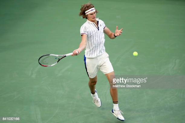 Alexander Zverev of Germany returns a shot against Borna Coric of Croatia during their second round Men's Singles match on Day Three of the 2017 US...