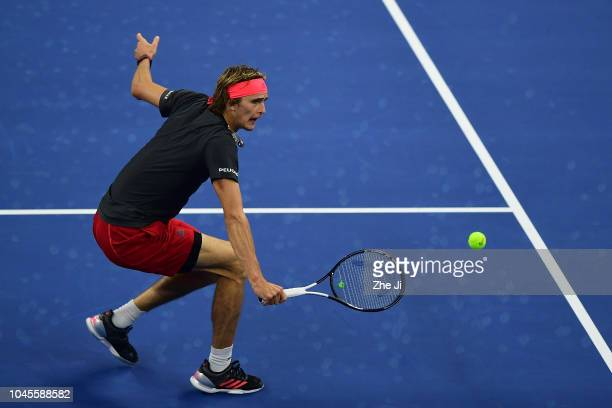Alexander Zverev of Germany returns a shot against Malek Jaziri of Tunisia during their Men's Singles 2nd Round match of the 2018 China Open at the...