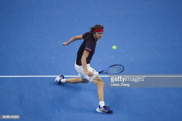 Alexander Zverev of Germany returns a shot against Nick Kyrgios of Australia during the Men's singles Semifinals on day eight of 2017 China Open at...