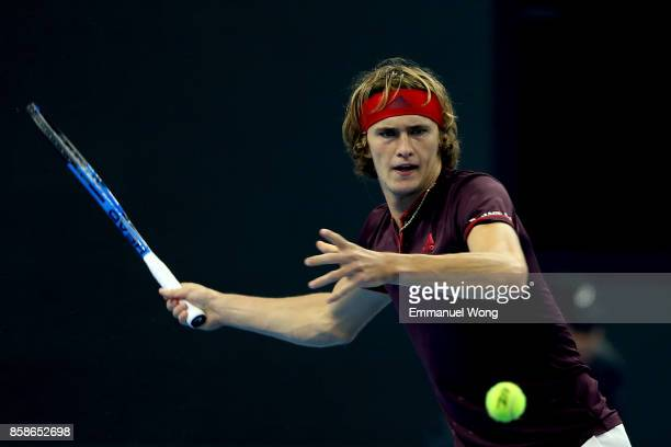 Alexander Zverev of Germany returns a shot against Nick Kyrgios of Australia during the Men's Semifinals match on day eight of the 2017 China Open at...
