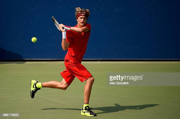 Alexander Zverev of Germany returns a shot against Philipp Kohlschreiber of Germany during their Men's Singles First Round match on Day Two of the...