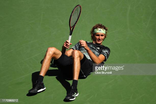 Alexander Zverev of Germany returns a shot during his Men's Singles second round match against Frances Tiafoe of the United States on day four of the...