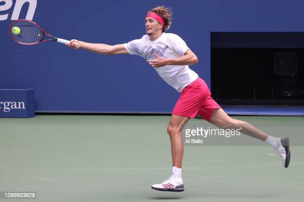 Alexander Zverev of Germany returns a shot during his Men's Singles first round match against Kevin Anderson of South Africa on Day One of the 2020...