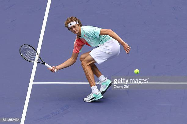 Alexander Zverev of Germany returns a shot during the match against JoWilfried Tsonga of France on Day 5 of the ATP Shanghai Rolex Masters 2016 at Qi...