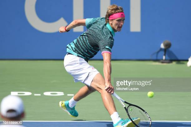 Alexander Zverev of Germany returns a shot to Alex De Minaur of Australia during the Men's Finals on Day Nine of the Citi Open at the Rock Creek...