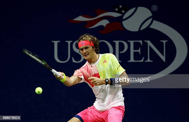 Alexander Zverev of Germany returns a shot to Daniel Evans of Great Britain during his second round Men's Singles match on Day Four of the 2016 US...