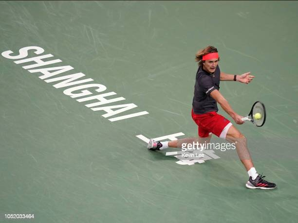 Alexander Zverev of Germany returns a shot to Novak Djokovic of Serbia during the semifinal of men's singles match of the 2018 Rolex Shanghai Masters...