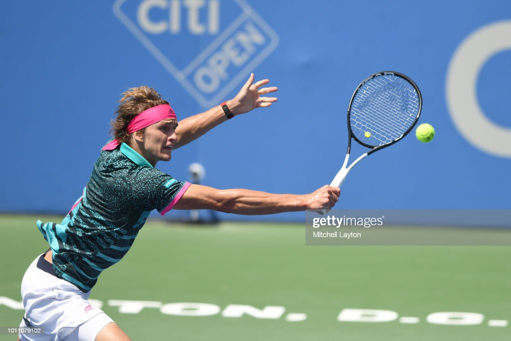 Alexander Zverev of Germany returns a shot to Stefanos Tsitsipas of Greece during a semifinal match on Day Eight of the Citi Open at the Rock Creek Tennis Center on August 4, 2018 in Washington, DC.