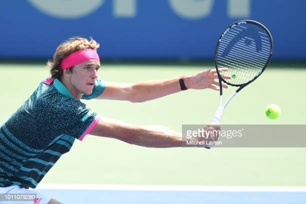 Alexander Zverev of Germany returns a shot to Stefanos Tsitsipas of Greece during a semifinal match on Day Eight of the Citi Open at the Rock Creek...