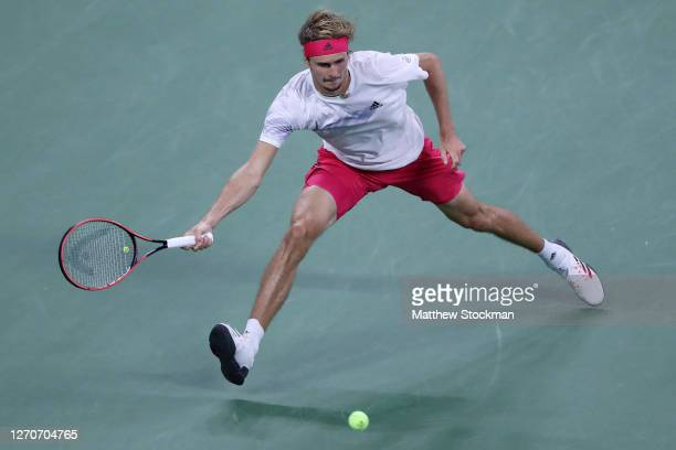 Alexander Zverev of Germany returns a volley during his Men's Singles third round match against Adrian Mannarino of France on Day Five of the 2020 US...