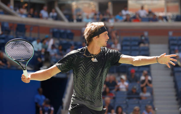 Alexander Zverev of Germany returns the ball against Albert Ramos-Vinolas of Spain during his Men's Singles second round match on Day Four of the...