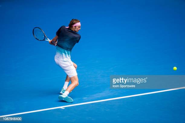 Alexander Zverev of  Germany returns the ball during day 2 of the Australian Open on January 15 2019 at Melbourne Park in Melbourne Australia