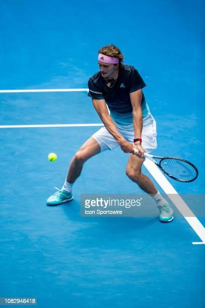 Alexander Zverev of Germany returns the ball during day 2 of the Australian Open on January 15 2019 at Melbourne Park in Melbourne Australia