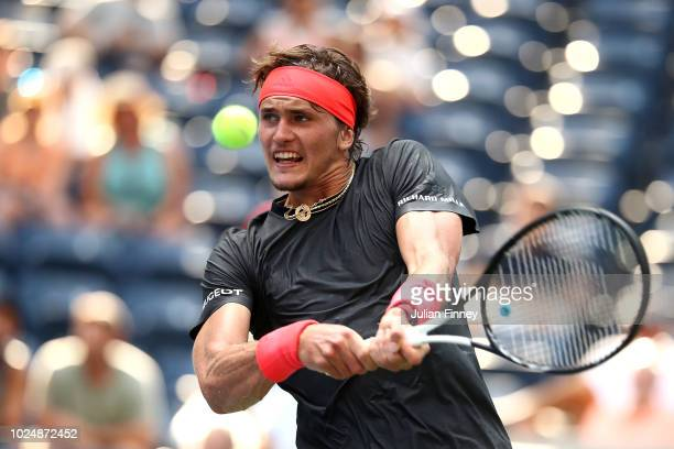 Alexander Zverev of Germany returns the ball during his men's singles first round match against Peter Polansky of Canada on Day Two of the 2018 US...