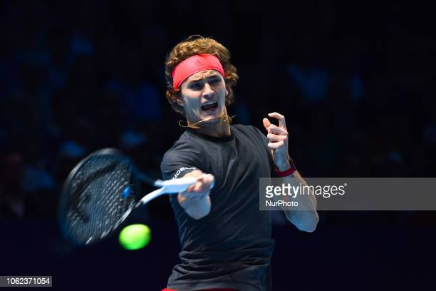 Alexander Zverev of Germany returns the ball during his round robin match against John Isner of the US during Day Six of the Nitto ATP Finals at The...