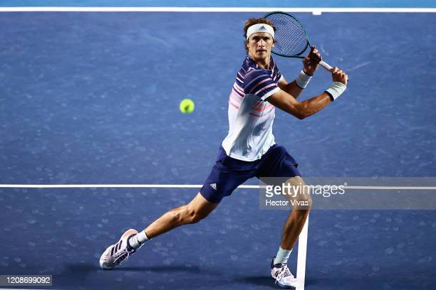 Alexander Zverev of Germany returns the ball during the singles match between Jason Jung of China Taipei and Alexander Zverev of Germany as part of...