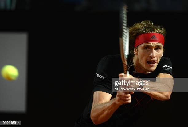Alexander Zverev of Germany returns the ball to David Goffin of Belgium during the ATP Tennis Open tournament in Rome at the Foro Italico on May 18...