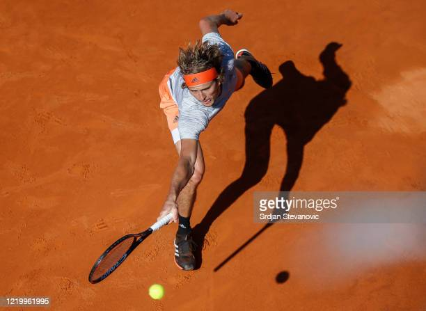 Alexander Zverev of Germany returns the ball to Novak Djokovic of Serbia during the Adria Tour charity exhibition hosted by Novak Djokovic on June...