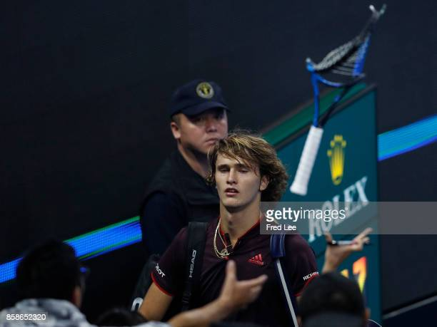 Alexander Zverev of Germany rleaves the court following defat in the Men's singles Semifinals on day eight of 2017 China Open at the China National...