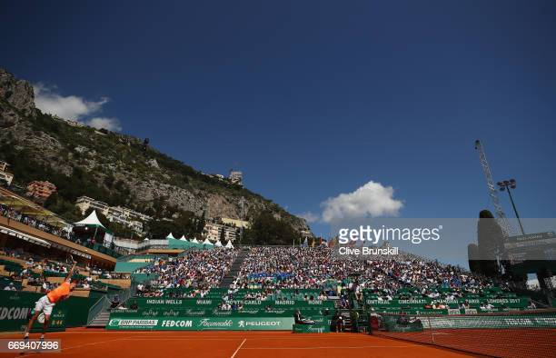 Alexander Zverev of Germany serves against Andreas Seppi of Italy in their first round match on day two of the Monte Carlo Rolex Masters at...