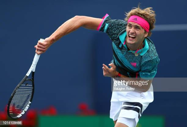 Alexander Zverev of Germany serves against Daniil Medvedev of Russia during a 3rd round match on Day 4 of the Rogers Cup at Aviva Centre on August 9...