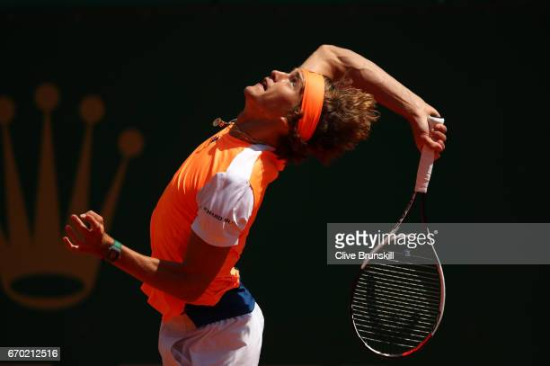 Alexander Zverev of Germany serves against Feliciano Lopez of Spain in his second round match on day four of the Monte Carlo Rolex Masters at...