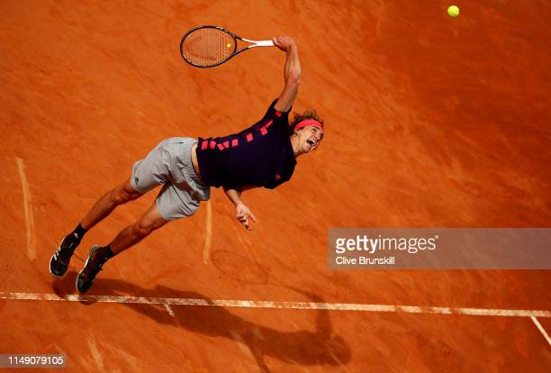 Alexander Zverev of Germany serves against Matteo Berrettini of Italy in their second round match during day three of the International BNL d'Italia...