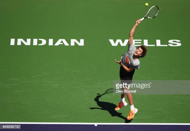 Alexander Zverev of Germany serves during a practice session on day two of the BNP Paribas Open at Indian Wells Tennis Garden on March 7 2017 in...
